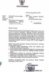 Surat Bupati Sumenep untuk Presiden Jokowi untuk batalkan Omnibus Law