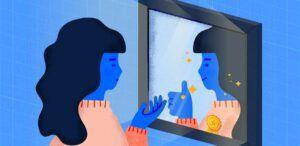 kartun perempuan di depan cermin