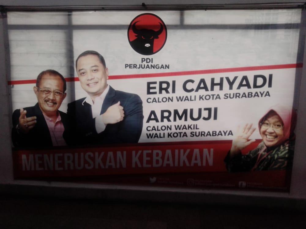 Eri Cahyadi dan Armuji (Eri-Armuji) unggul versi quick count di Pilkada Surabaya. (Foto: Rangga Aji/Tugu Jatim)