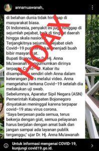 Klarifikasi kabar hoaks terkait Bupati Bojonegoro, Anna Mu'awanah. (Foto: Dokumen)