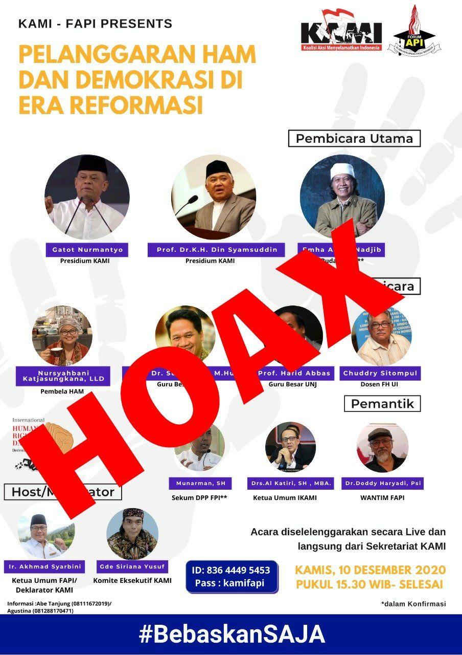 """Nama cendekiawan Islam, Emha Ainun Nadjib dicatut dalam acara Koalisi Aksi Menyelamatkan Indonesia (KAMI) bertajuk """"Pelanggaran HAM dan Demokrasi di Era Reformasi, Kamis (10/12/2020)."""