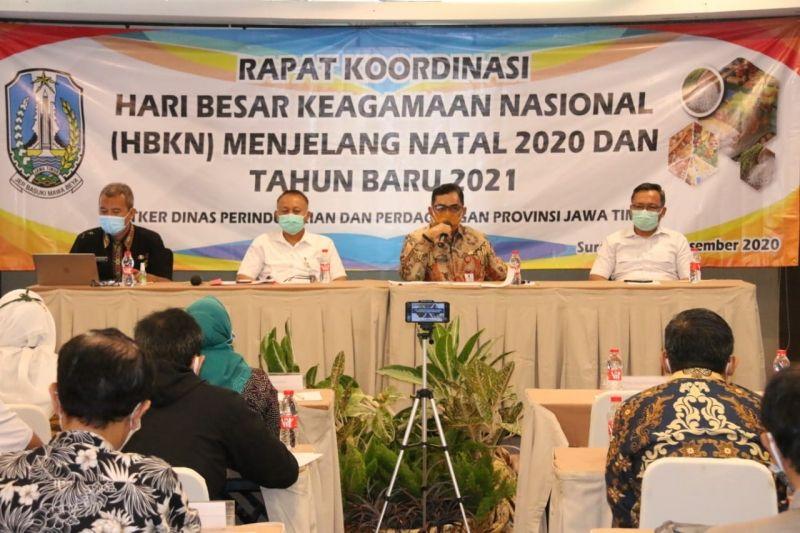 Kepala Dinas Perindag Prov. Jatim, Drajat Irawan saat Pmpin Rakor HBKN Tahun 2020 untuk jaga kestabilan harga bahan pokok (bapok)