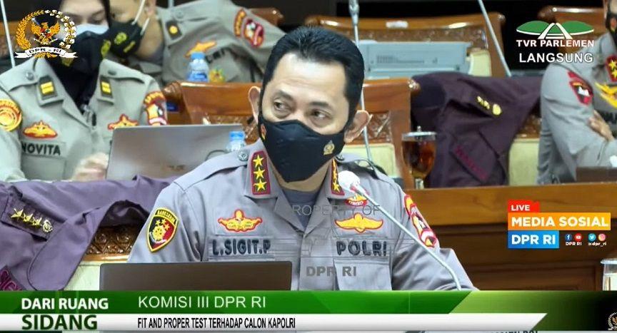 Calon Kapolri, Komjen Listyo Sigit Prabowo. (Foto: YouTube/DPR RI)