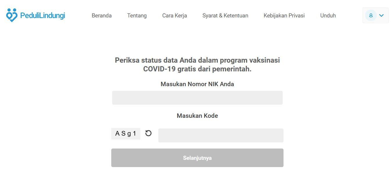 Peduli Lindungi, situs resmi dari pemerintah Indonesia untuk mengecek status pemberian vaksin COVID-19 gratis. (Foto: Dokumen)