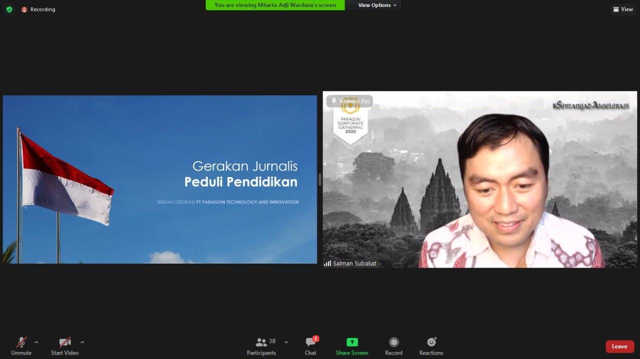 CEO of Paragon Technology and Innovation, Salman Subakat saat membuka acara Fellowship Jurnalisme Pendidikan secara virtual Senin (25/1/2021). (Foto: Fen/Tugu Malang/Tugu Jatim)