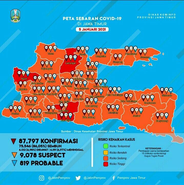Sebaran wabah COVID-19 di wilayah Jawa Timur. (Foto: Dokumen pemprov Jatim) tuban zona merah