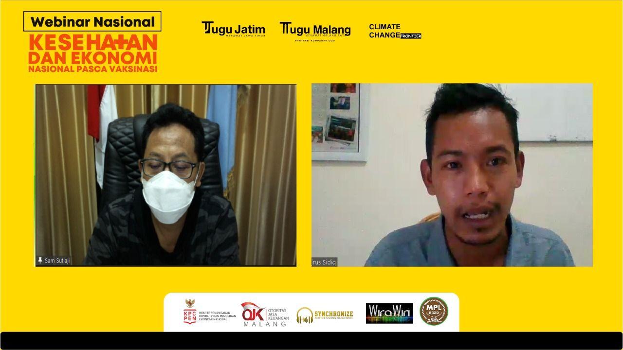 Wali Kota Malang, Sutiaji (kiri) bersama GM Tugu Malang ID, Fajrus Sidiq saat webinar nasional yang digelar Tugu Media Group, Sabtu (23/1/2021). (Foto: Dokumen) tugu malang, tugu jatim
