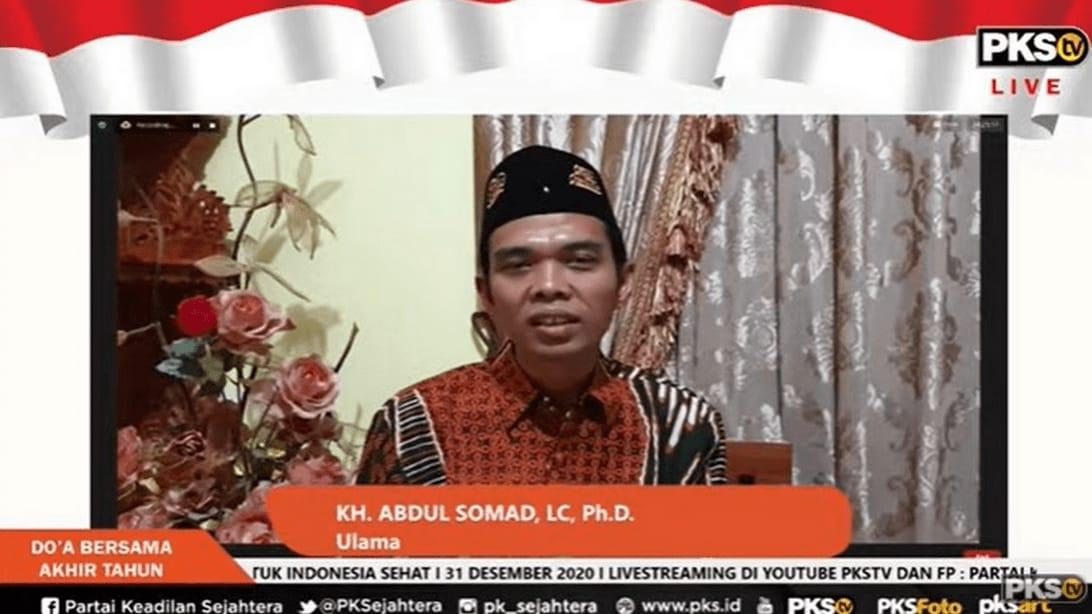 Ustaz Abdul Somad (UAS) saat acara Doa Bersama Untuk Indonesia Sehat yang digelar virtual oleh PKS. (Foto: Dokumen PKS)