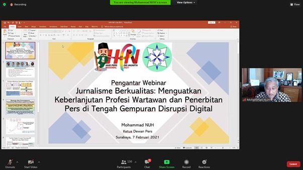 Proses Webinar Nasional bersama Ketua Dewan Pers Mohammad Nuh.(Foto: Feni Yusnia/Tugu Jatim)