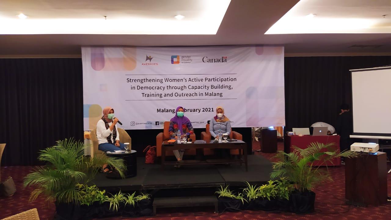 Sesi diskusi Program Gender Equality Academy. (Foto: Azmy/Tugu Jatim)