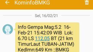 Pesan singkat Kominfo BMKG kepada warga. (Foto: Rochim/Tugu Jatim)
