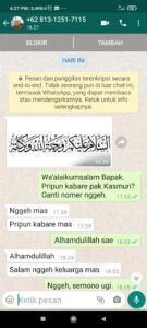 Pesan melalui WA yang dikirim penipu kepada calon korbannya. (Foto: Dok/Tugu Jatim)