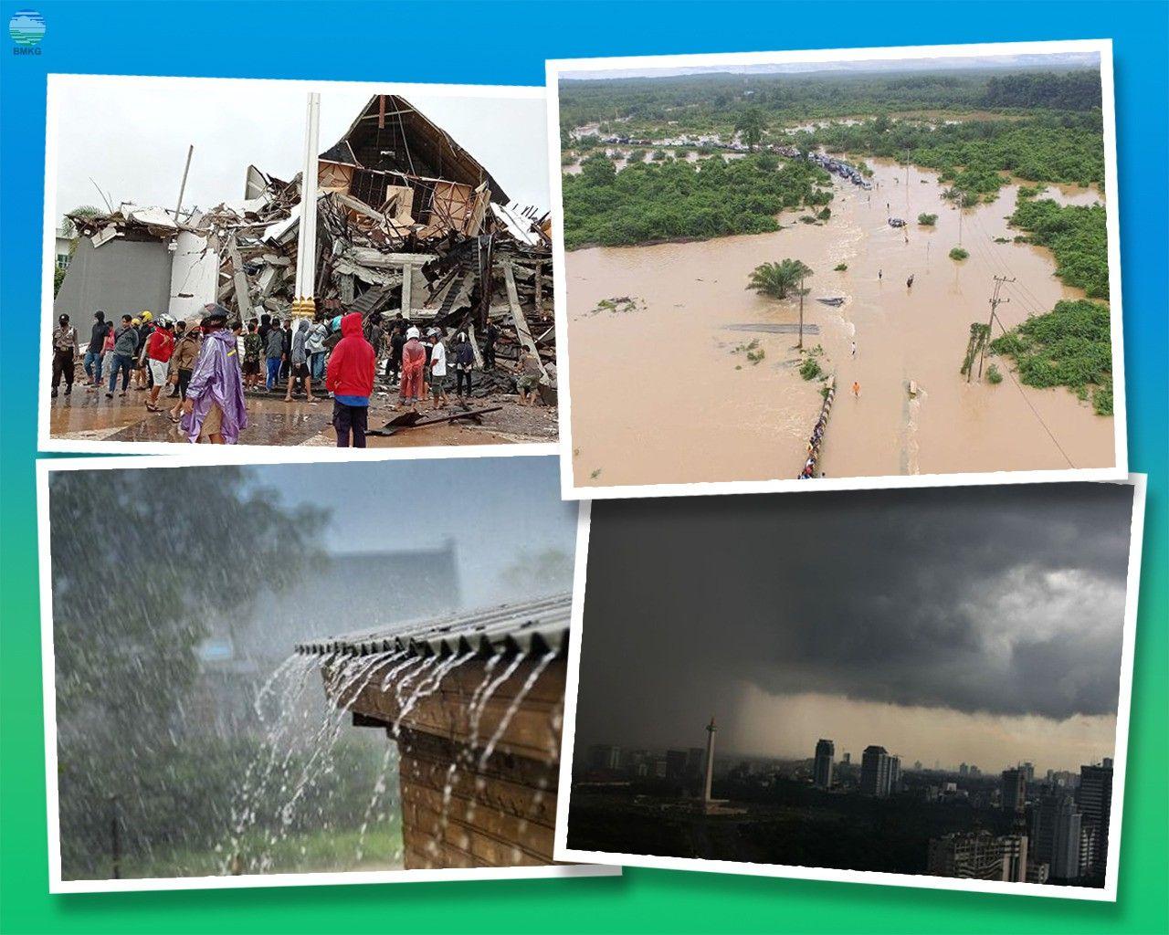 Foto kolase bencana akibat dampak dari pemanasan global. (Foto: BMKG) tugu jatim