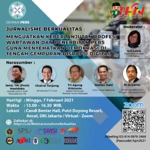 Poster webinar nasional di Hari Pers Nasional. (Foto:Dok/Tugu Jatim)