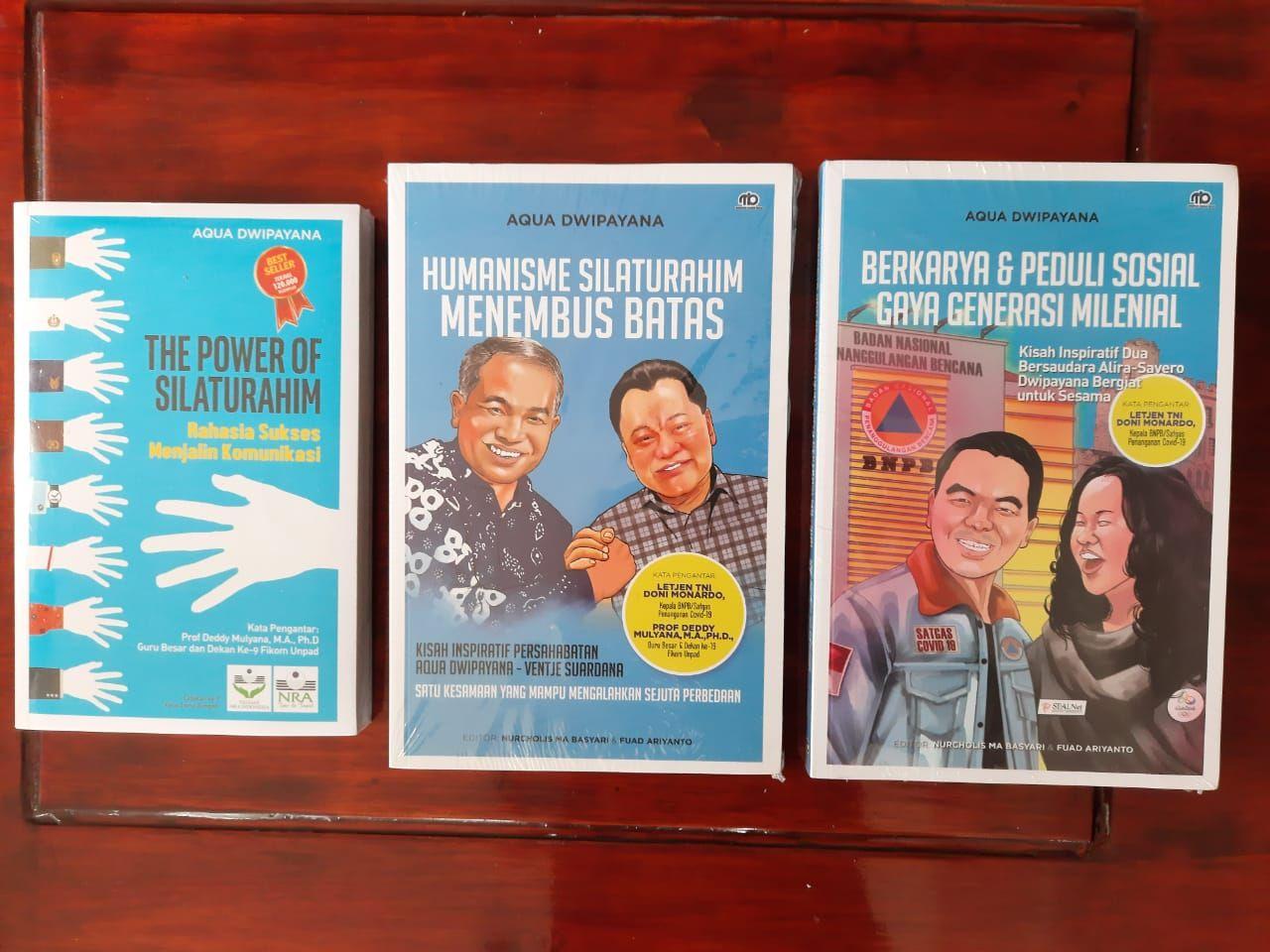 Trilogi buku dari karya Pakar Komunikasi dan Motivator Nasional Dr Aqua Dwipayana. (Foto: Dok/Tugu Jatim)
