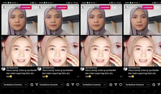 Berbagi tip kecantikan bersama Wardahbeauty.malang dan tugumalang.id saat live Instagram. (Foto: Mila Arinda/Tugu Jatim)