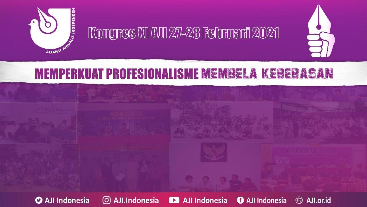 Kongres AJI XI yang digelar pada 27-28 Februari 2021. (Foto: Dokumen/AJI Indonesia)