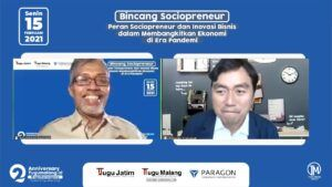 Pemimpin Redaksi Tugu Jatim ID, Nurcholis MA Basyari bersama CEO Paragon Technology & Innovation, Salman Subakat. (Foto: Dokumen/Tugu Malang/Tugu Jatim)