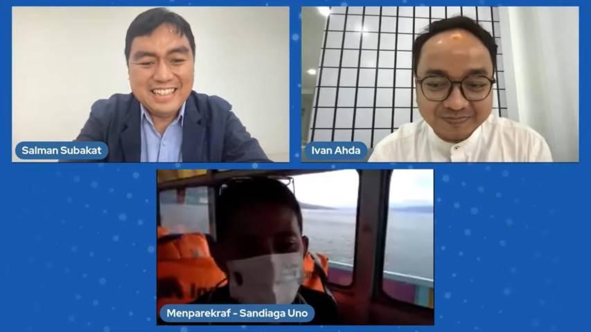 CEO Paragon Salman Subakat dan Menteri Pariwisata dan Ekonomi Kreatif RI Sandiaga Uno saat menyampaikan materi secara virtual. (Foto: Feni Yusnia/Tugu Jatim)