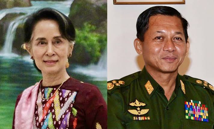 Petinggi Partai NLD Aung San Suu Kyi (kiri) dan Jenderal Senior Min Aung Hlaing dalang kudeta militer Myanmar (kanan). (Foto: Wikipedia/Tugu Jatim)