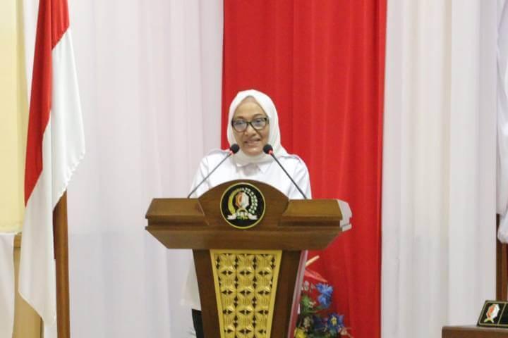 Bupati Bojonegoro, Anna Muawanah dalam acara pengesahan Raperda RTRW Jumat (19/03/2021). (Foto: Humas Pemkab Bojonegoro)