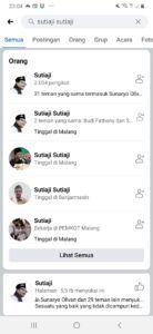 Tangkapan layar yang tunjukkan beberapa akun Facebook palsu yang atas namakan Wali Kota Malang, Sutiaji. (Foto: Dokumen/Pemkot Malang) tugu jatim