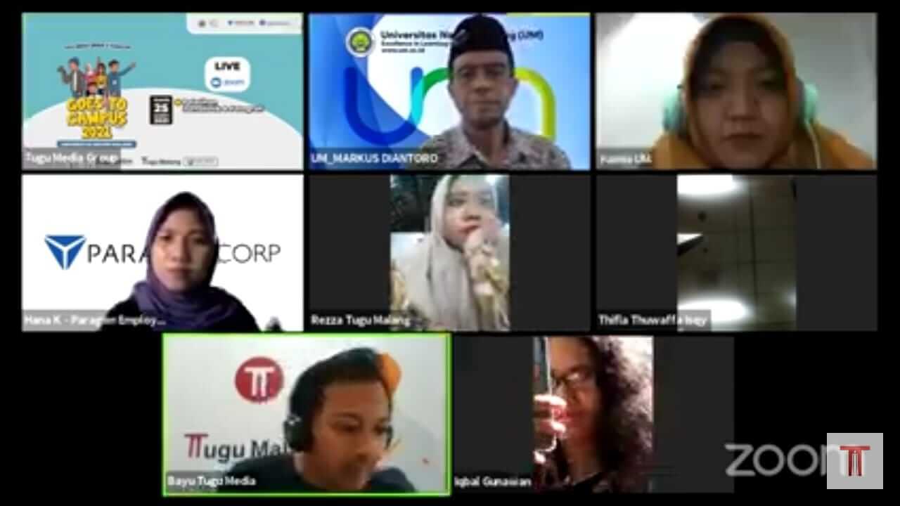 Tugu Media Group Goes to Campus 2021 di Universitas Negeri Malang yang digelar secara virtual oleh Tugu Media Group (Tugu Malang ID dan Tugu Jatim) bersama PT Paragon Technology and Innovation, Kamis (25/3/2021). (Foto: Dokumen/Tugu Malang)
