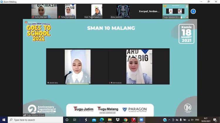 Wardah Beauty Malang memberikan tip kecantikan saat acara Tugu Media Group Goes to School di SMAN 10 Malang, Kamis (18/03/2021). (Foto : Mila Arinda/Tugu Jatim)