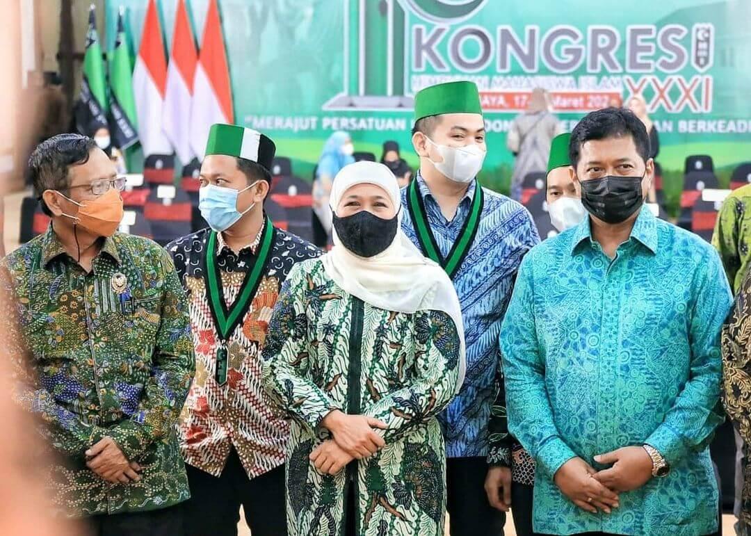 Gubernur Jawa Timur, Khofifah Indar Parawansa saat menghadiri Kongres HMI XXXI di Surabaya beberapa waktu lalu. (Foto: Instagram/Khofifah Indar Parawansa)