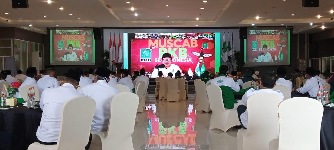 Ketua DPP PKB, Abdul Muhaimin Iskandar atau Cak Imin saat memberikan sambutan dan membukan Muscab se-Indonesia secara Virtual. (Foto: Moch Abdrurrochim/Tugu Jatim)