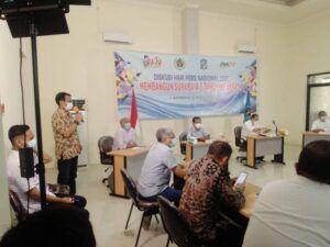 Peringatan Hari Pers Nasional 2021 di Kantor Persatuan Wartawan Indonesia (PWI) Jatim, Rabu (31/03/2021) siang. (Foto: Rangga Aji/Tugu Jatim)