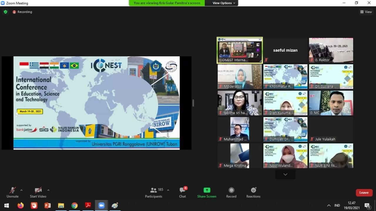 Acara konferensi internasional dengan tema Empowerment of Global Society in Education, Science and Technology yang digelar oleh Unirow Tuban bersama Share to Care Volunteers secara virtual, Jumat (19/3/2021). (Foto; Dokumen/Unirow Tuban)