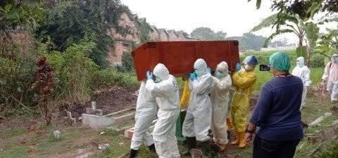 Proses pemakaman dengan protokol pencegahan Covid-19 yang dilakukan UPT Pemakaman Kota Malang. (Foto: UPT Pemakaman Kota Malang/Tugu Jatim)