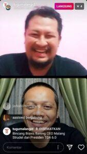 CEO Tugu Malang Group Irham Toriq bersama Donny Kris memberikan tip memulai bisnis yang baik. (Tangkapan layar live Instagram @tugumalangid/Tugu Jatim)