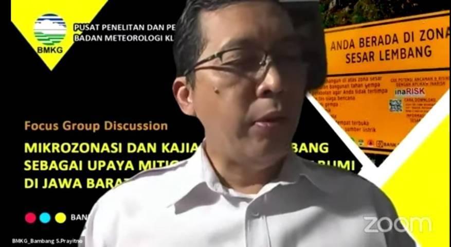 Kepala Pusat Seismologi Teknik Bambang Setyo Prayitno. (Foto: Tangkapan layar YouTube BMKG/Tugu Jatim)
