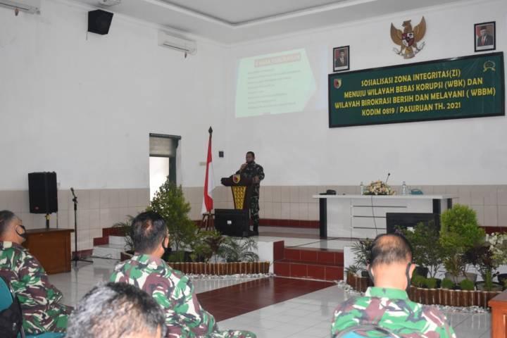 Kasdim 0819/Pasuruan Mayor Arh M. Ridwan siap mendukung penuh wilayah Kodim Pasuruan menjadi zona integritas menuju Wilayah Bebas dari Korupsi (WBK) dan Wilayah Birokrasi Bersih dan Melayani (WBBM). (Foto: Kodim Pasuruan)