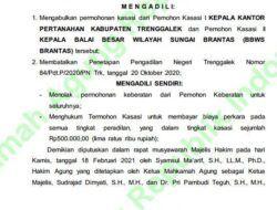 Putusan kasasi yang diunduh dari situs resmi Mahkamah Agung terkait penetapan lahan Bendungan Bagong Trenggalek. (Foto: Dokumen/MA)