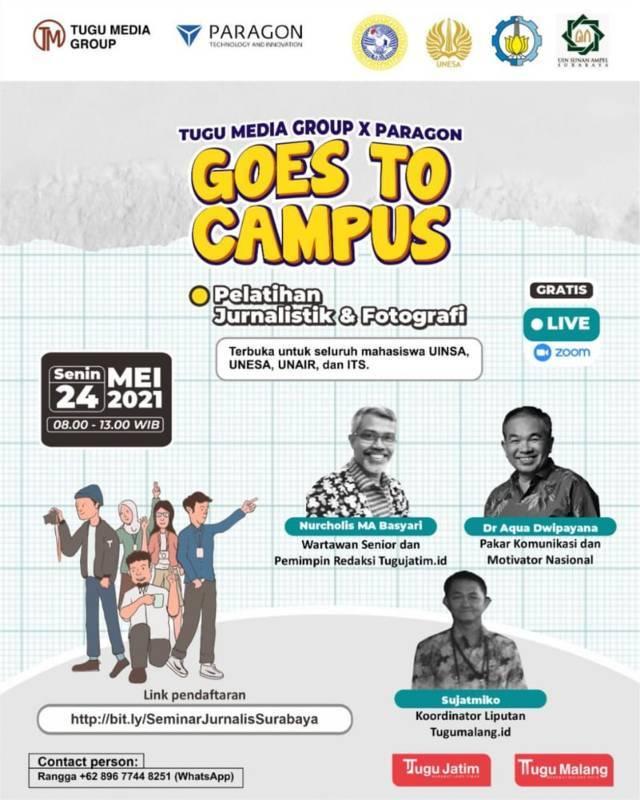 Tugu Media Goes to Campus menggelar pelatihan bersama 4 PTN di Surabaya Raya yaitu UIN Sunan Ampel Surabaya, Unair Surabaya, Unesa, dan ITS Surabaya, Rabu (19/05/2021).(Foto: Tugu Media Group/Tugu Jatim)