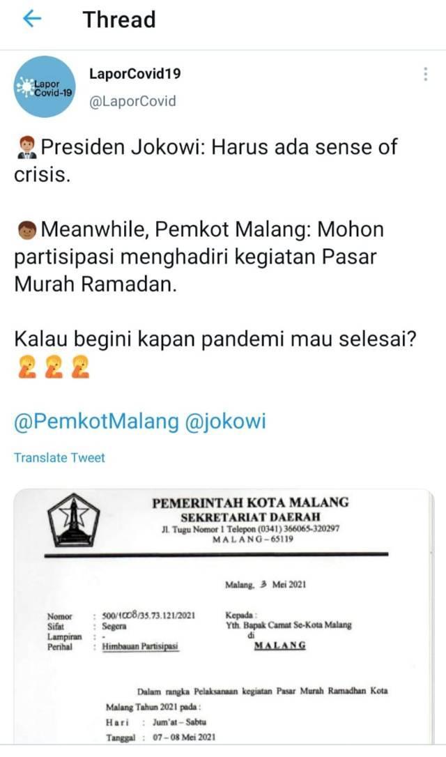 Surat undangan hadir agenda Pasar Murah Ramadhan kepada camat se-Kota Malang yang viral di media sosial. (Foto: Dok/Tugu Jatim)