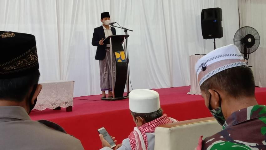 Bupati Trenggalek M. Nur Arifin saat menghadiri peresmian musala Bendungan Bagong. (Foto: Zamz/Tugu Jatim)