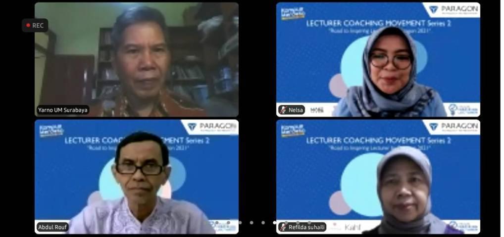Para dosen mendengarkan materi dari Dr Aqua Dwipayana dalam Lecturer Coaching Movement pada Sabtu (29/05/2021). (Foto: Feni Yusnia/Tugu Jatim)