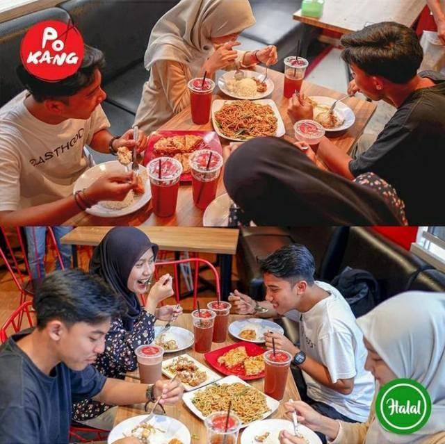 Pengunjung makan bersama di Pokang. (Foto: IG @pokang_express/Tugu Jatim)