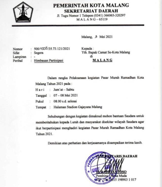Surat undangan menggelar Pasar Murah Ramadhan. (Foto: Dok/Tugu Jatim)