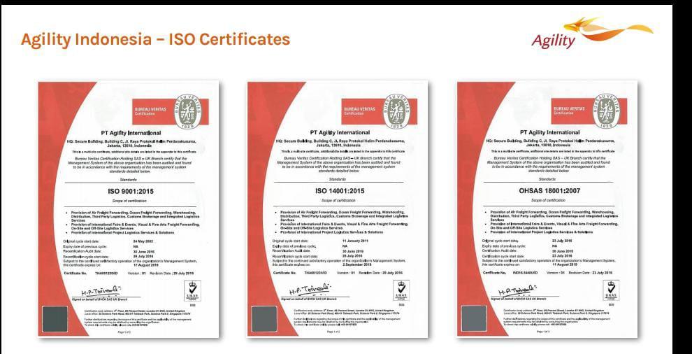 Agility International banyak memperoleh prestasi dan sertifikat kompetensi yang sudah bisa dipercaya tak hanya nasional, melainkan juga internasional. (Foto: Dokumen)