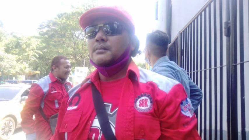 Koordinator Kongres Aliansi Serikat Buruh Indonesia (KASBI) Provinsi Jawa Timur Syahril Ramadhon. (Foto: Rangga Aji/Tugu Jatim)
