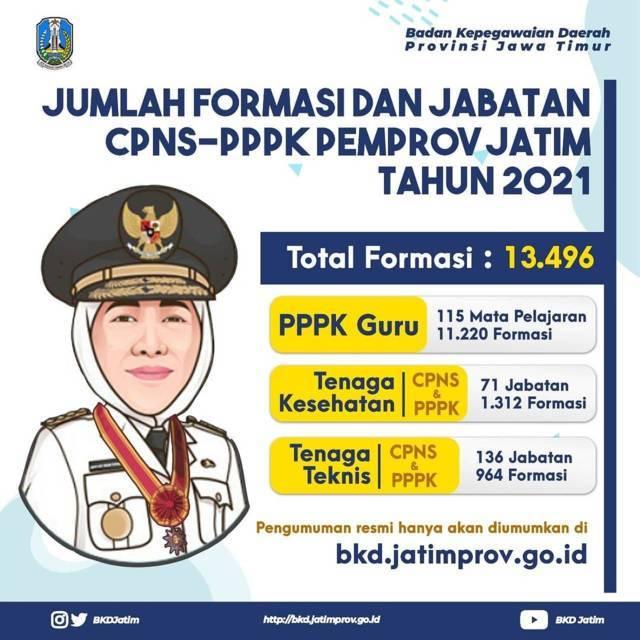 Detail rincian formasi dan jabatan untuk PPPK dan CPNS yang dibuka untuk wilayah Pemprov Jatim. (Foto: Instagram/BKD Provinsi Jatim)