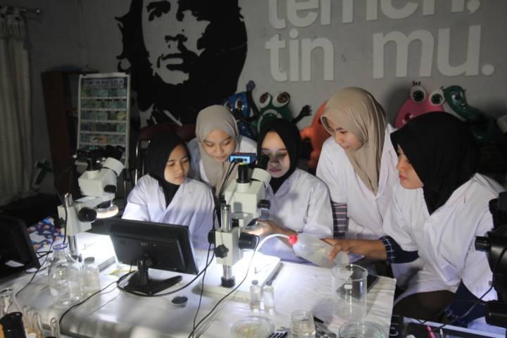 Mahasiswa saat meneliti udang yang terkontaminasi mikroplastik. (Foto: Ecoton/Tugu Jatim)