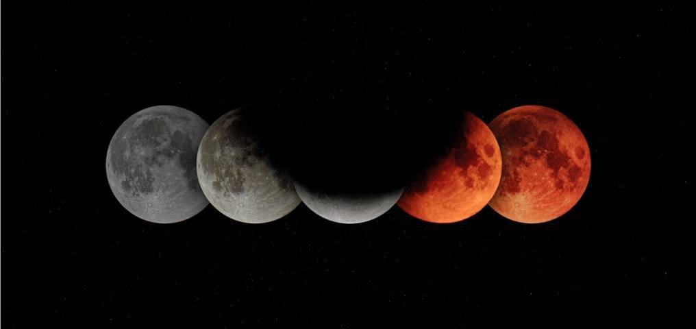 Ilustrasi urutan fenomena gerhana bulan. (Foto: Unsplash) gerhana bulan total tugujatim, kemenag, salat gerhana,