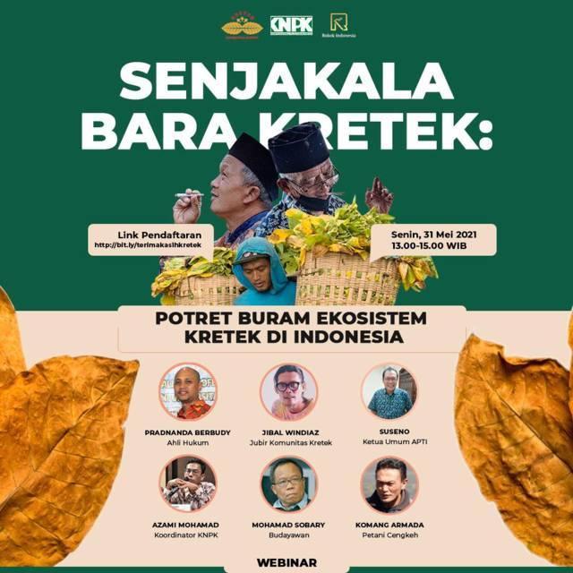 Diskusi webinar Senjakala Bara Kretek: Potret Buram Ekosistem Kretek di Indonesia, Senin (31/05/2021). (Foto:Dokumen/Tugu Jatim)