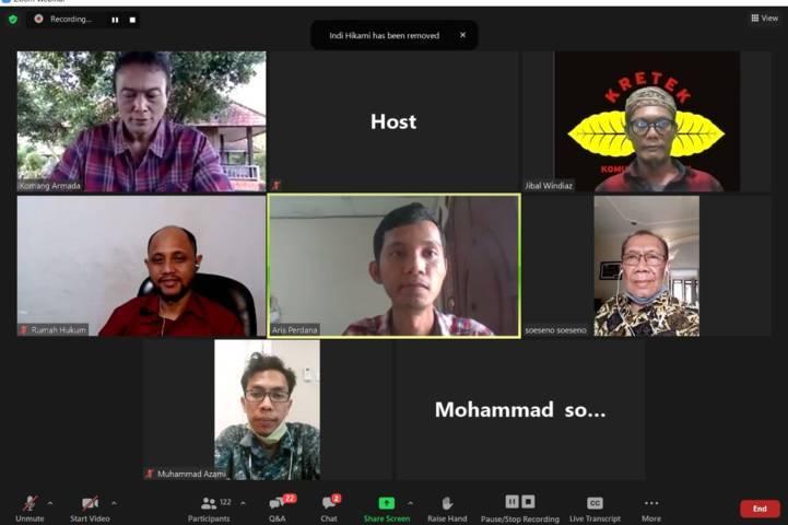 Asosiasi Petani Tembakau Indonesia (APTI) menggelar webinar soal tembakau. (Foto: Dokumen)